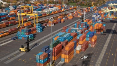 A photograph of a container yard.