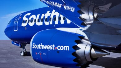 A Southwest plane painted in blue