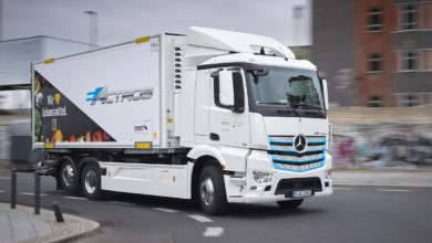 "Pictured: an example of Daimler / Mercedes-Benz electric truck ""Actros"""