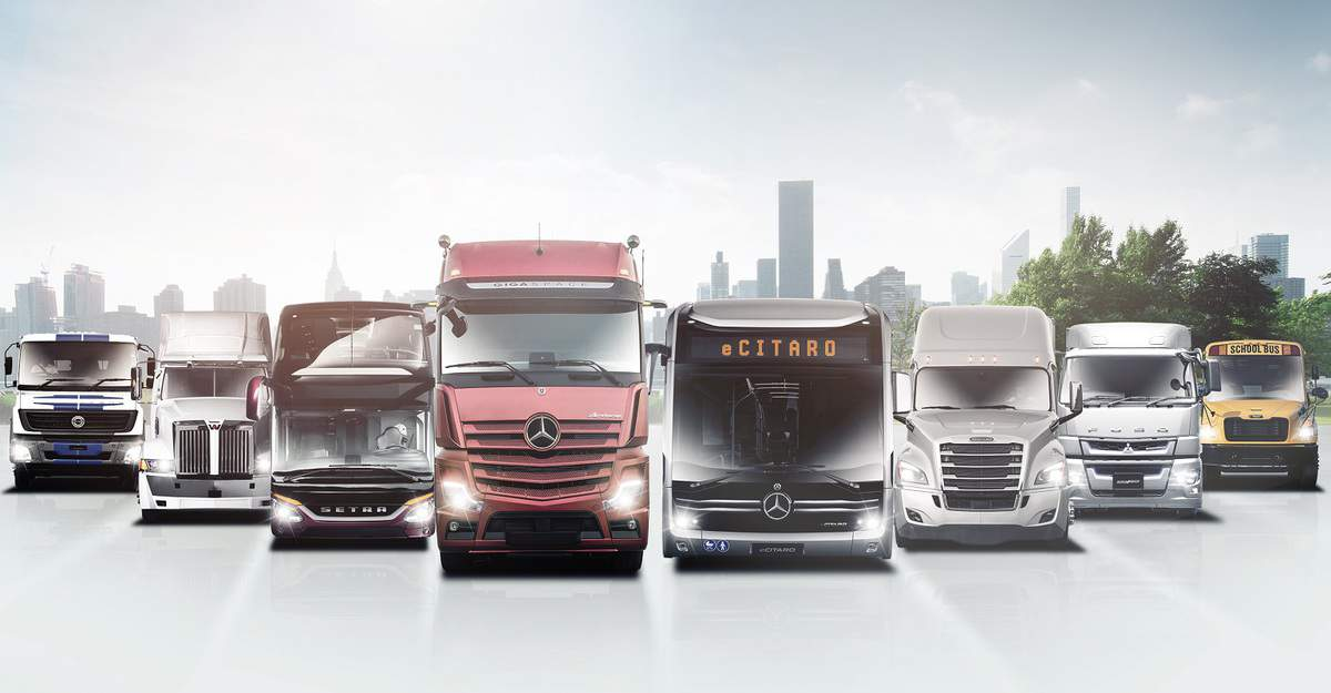 Pictured: a range of vehicles and brands produced by automotive manufacturer Daimler.