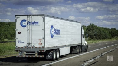 A Celadon tractor-trailer in better days. (Photo credit: FreightWaves)