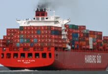 Hamburg Sud container ship in ocean