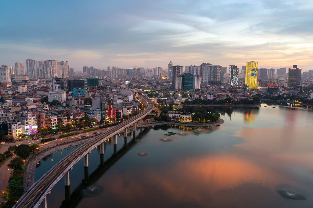 Pictured: Hanoi, Vietnam, in the late evening.