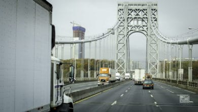 Trucks on the George Washington Bridge entering New Jersey
