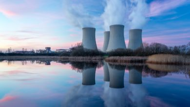Pictured: a nuclear power plant and its cooling towers