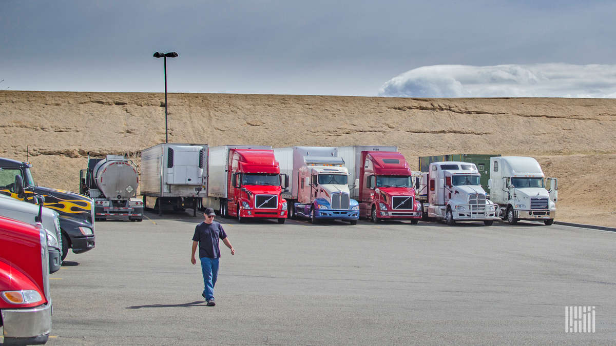 Trucks in a parking lot