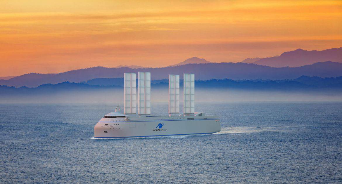 Proposed ship of future with sails
