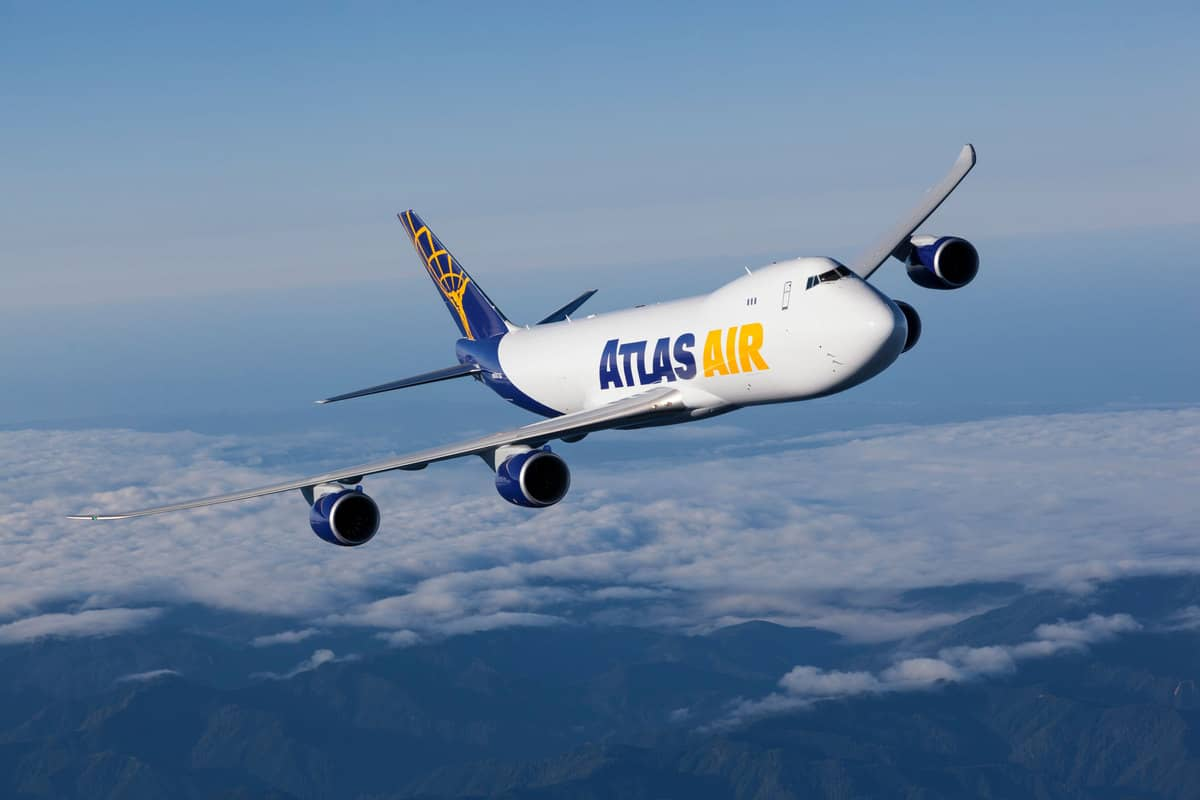 Atlas Air plane flying above the clouds