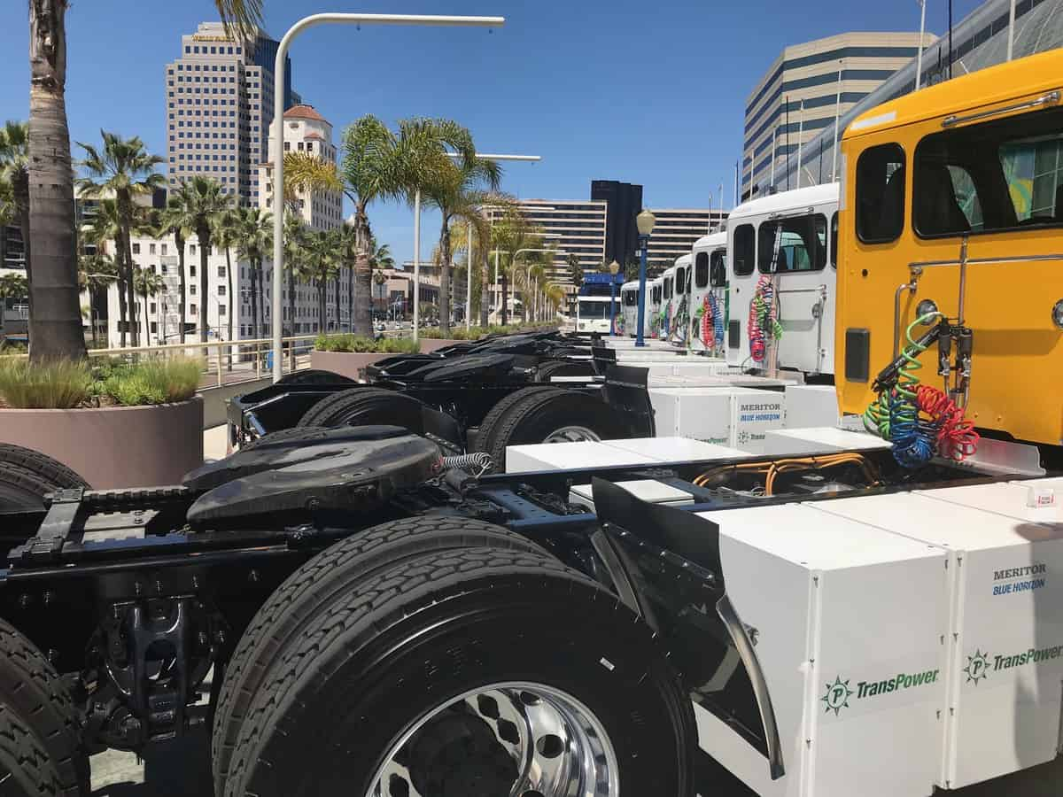Electric Trucks in a row