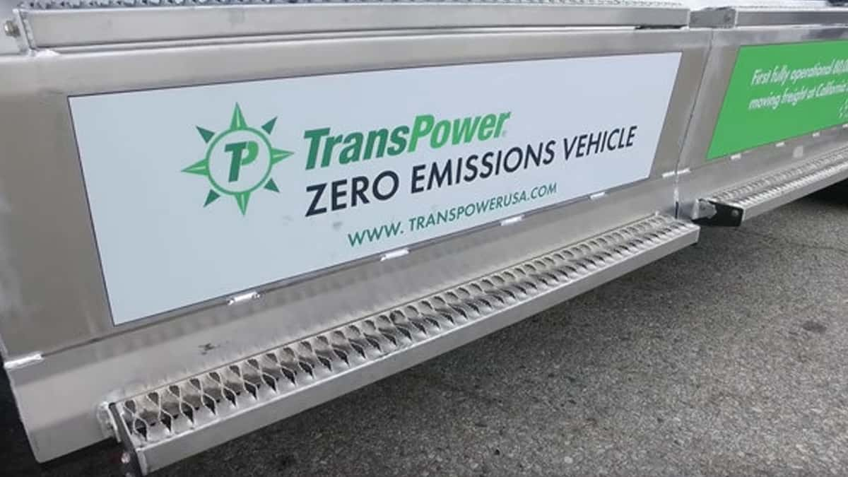 TransPower logo and sign on electric truck