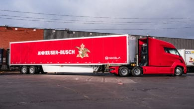 Nikola semi with Anheuser-Busch trailer
