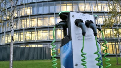 Electric charger outside office building