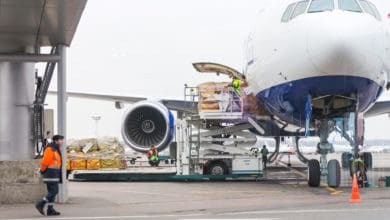 cargo being loaded on an aircraft