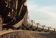 A photograph of a a line of tank cars.