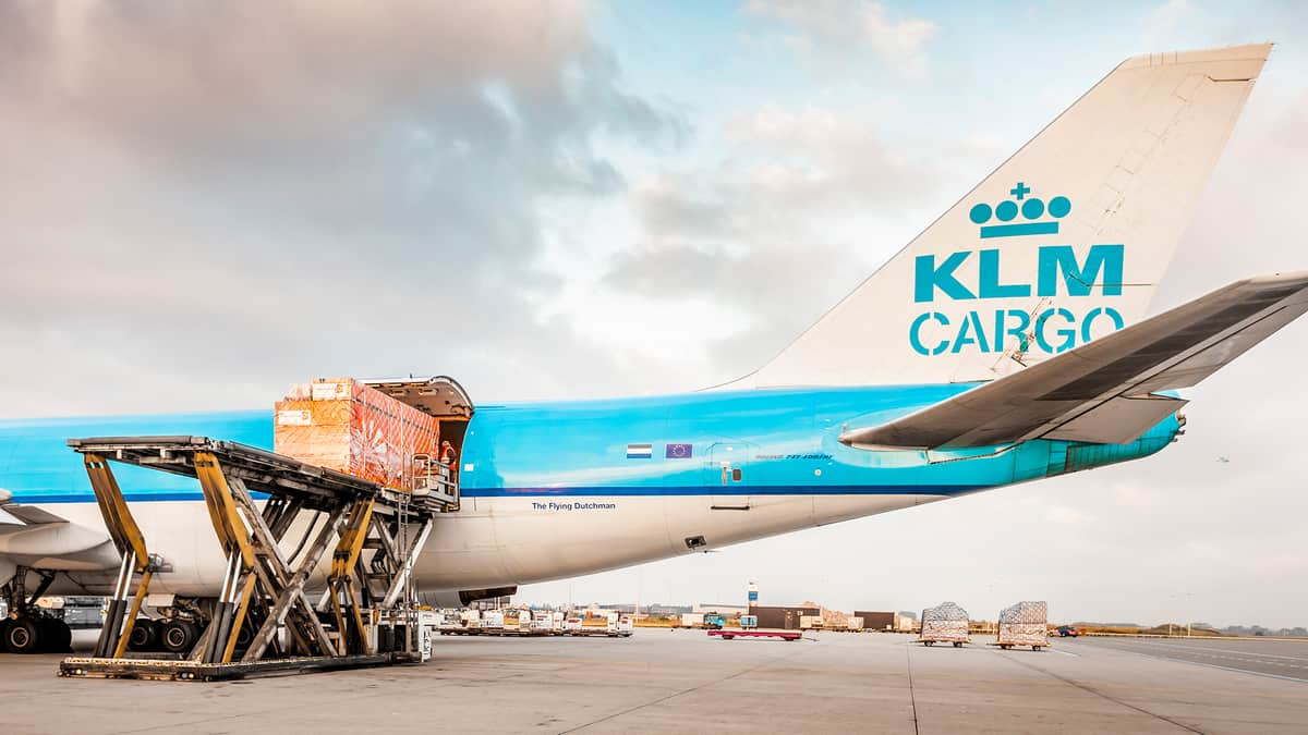 KLM 747 freighter being loaded
