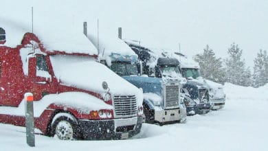 Trucks in a snowy California parking lot.