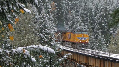 A photograph of a train that is about to get onto a rail bridge. There is snow on the trees by the bridge.