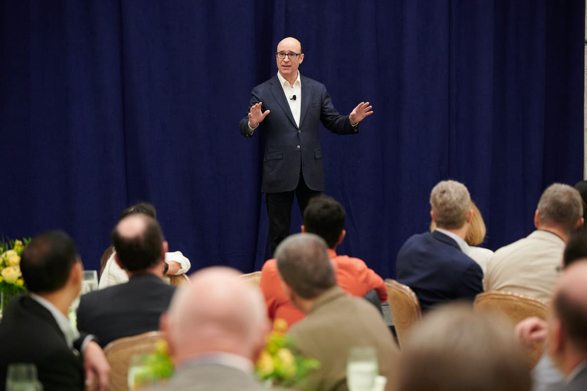 XPO Logistics CEO Brad Jacobs speaks at the BGSA conference in West Palm Beach.