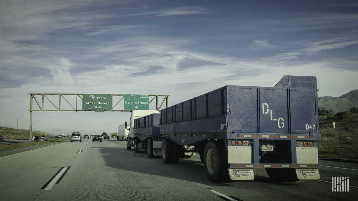 Truck passing through California