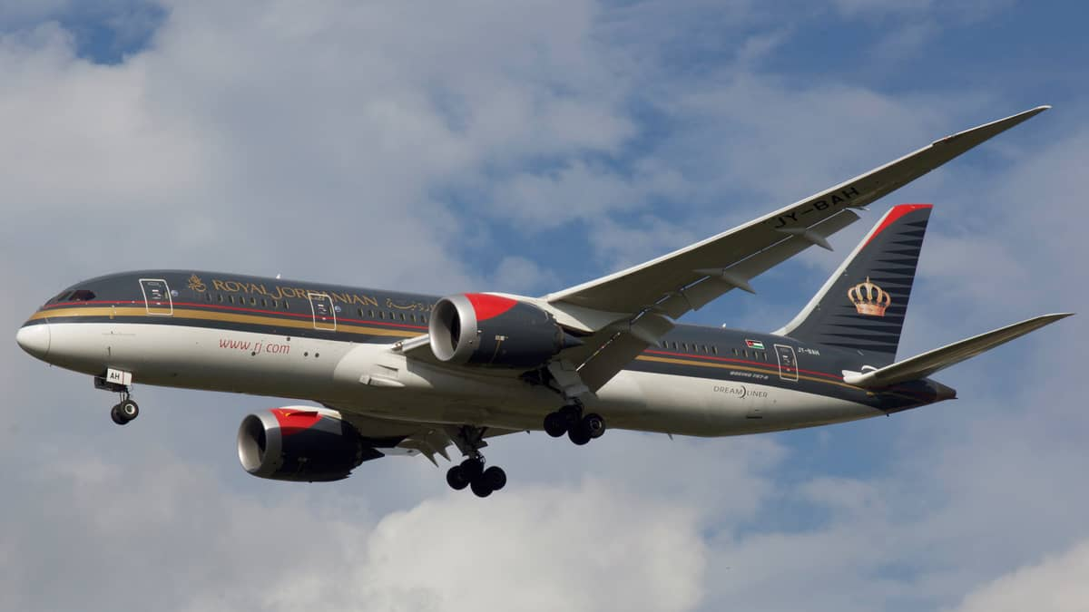 Royal Jordanian airliner on approach