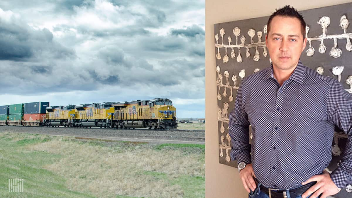Two photographs. The left photo is of a train running in a field, and the right photo is of a man with his hands on his hips.
