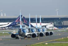 aircraft lined up on taxiway