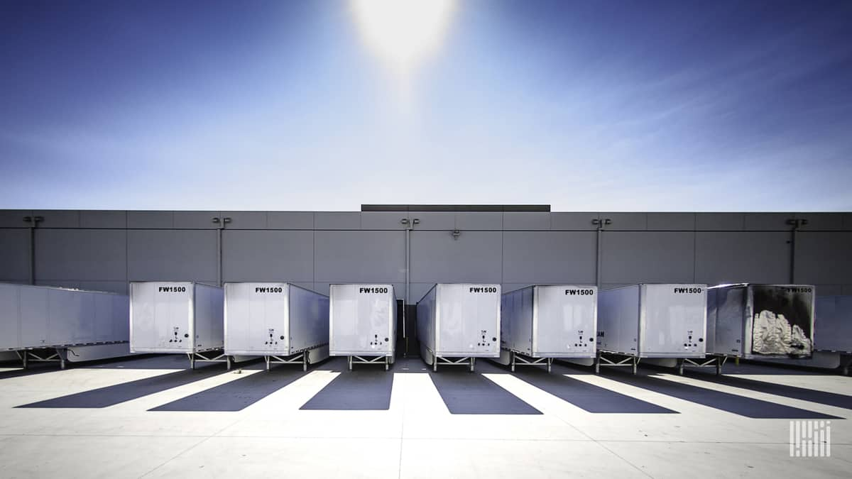 A line of trailers parked at a consolidation center