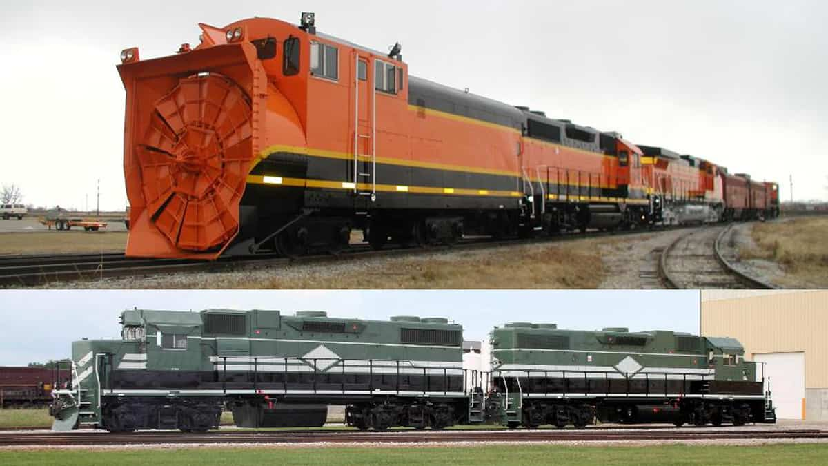 An image consisting of two photographs. In each photograph, there is a photo of a locomotive.