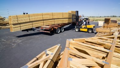 roof trusses loaded with forklift
