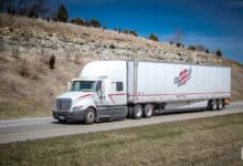 Heartland Express truck on road