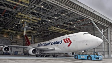 Martinair Cargo 747 in a hangar