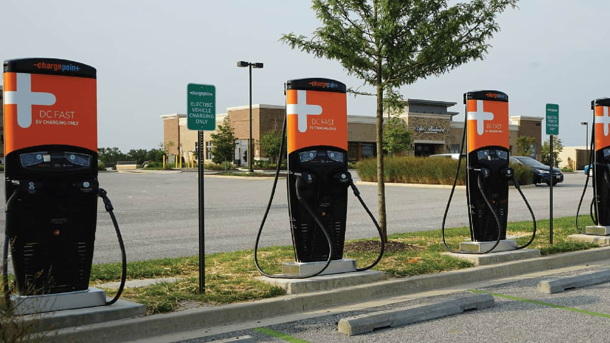 Row of ChargePoint electric vehicle charging stations