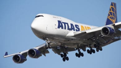 Atlas Air jumbo jet comes in for landing.