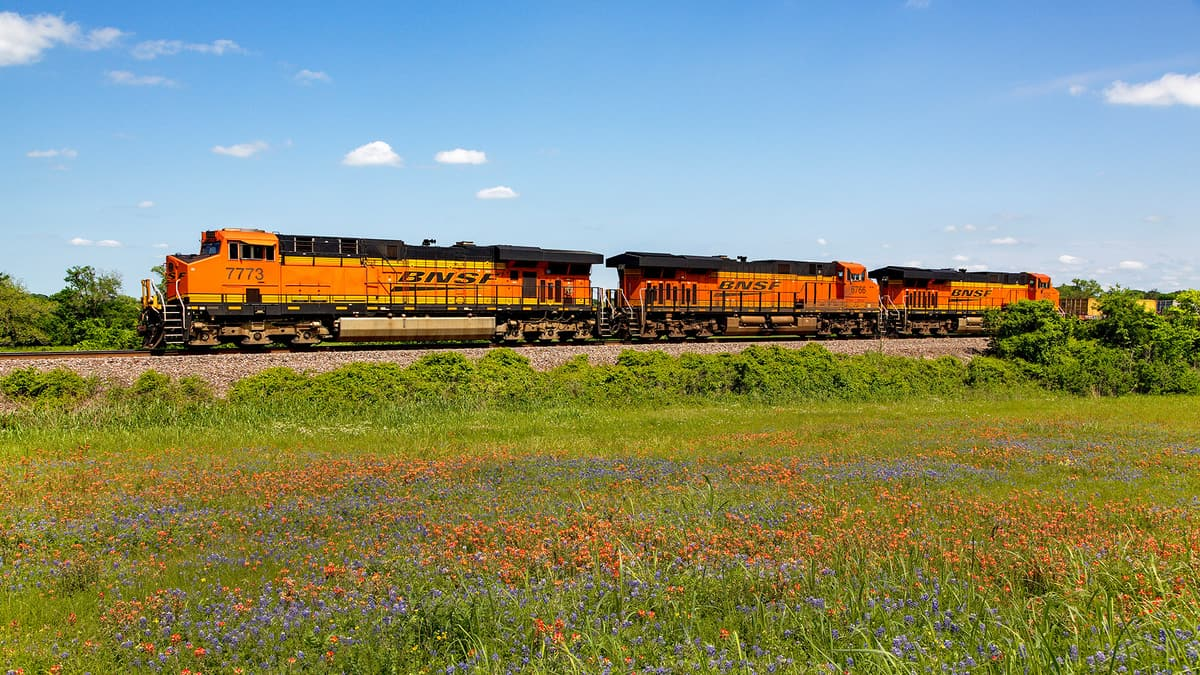 A photograph of a train traveling along a grassy field.