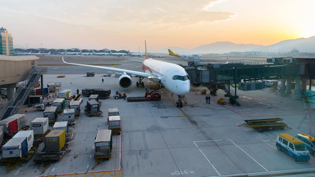 Plane being loaded with cargo in Hong Kong.