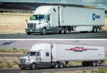 Tractor-trailers of Celadon Group and Pam Transport