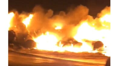 Photo of Fiery Canadian Pacific derailment prompts evacuation, highway closure