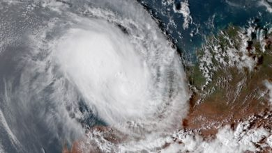 Satellite image of Tropical Cyclone Damien.
