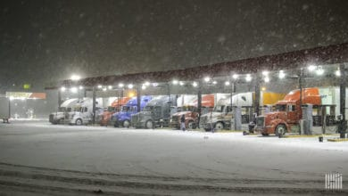 Trucks fueling at travel center