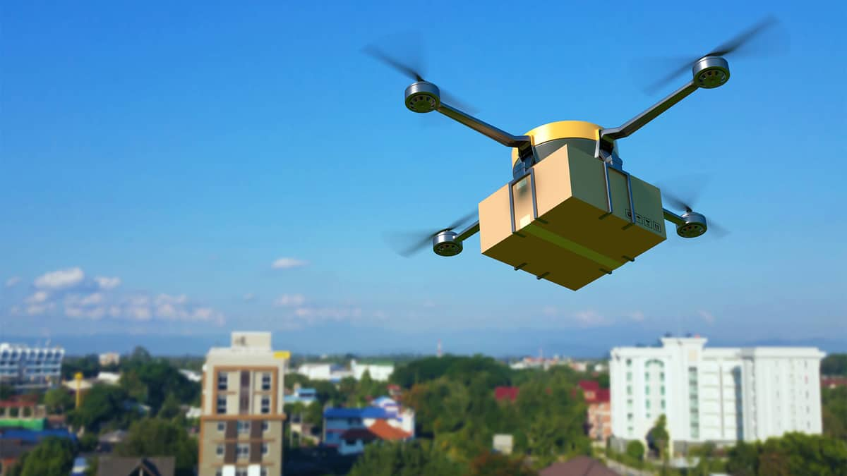 package delivery drone in flight