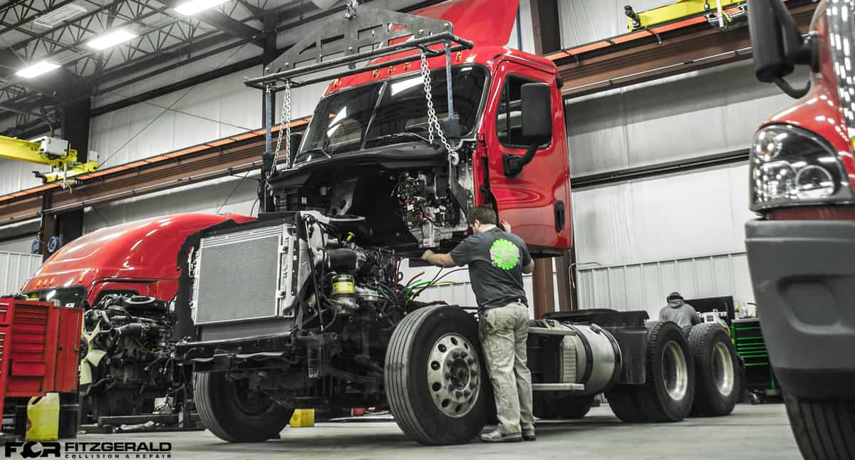 Freightliner truck in repair shop