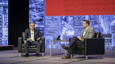Photo of Industry keynote with CEO of Transplace Frank McGuigan from #FWLive