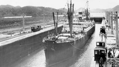 Steamship Ancon at Panama Canal in 1914