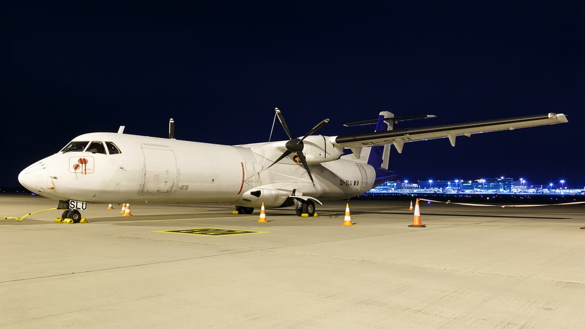 ATR 72 freighter on the ramp