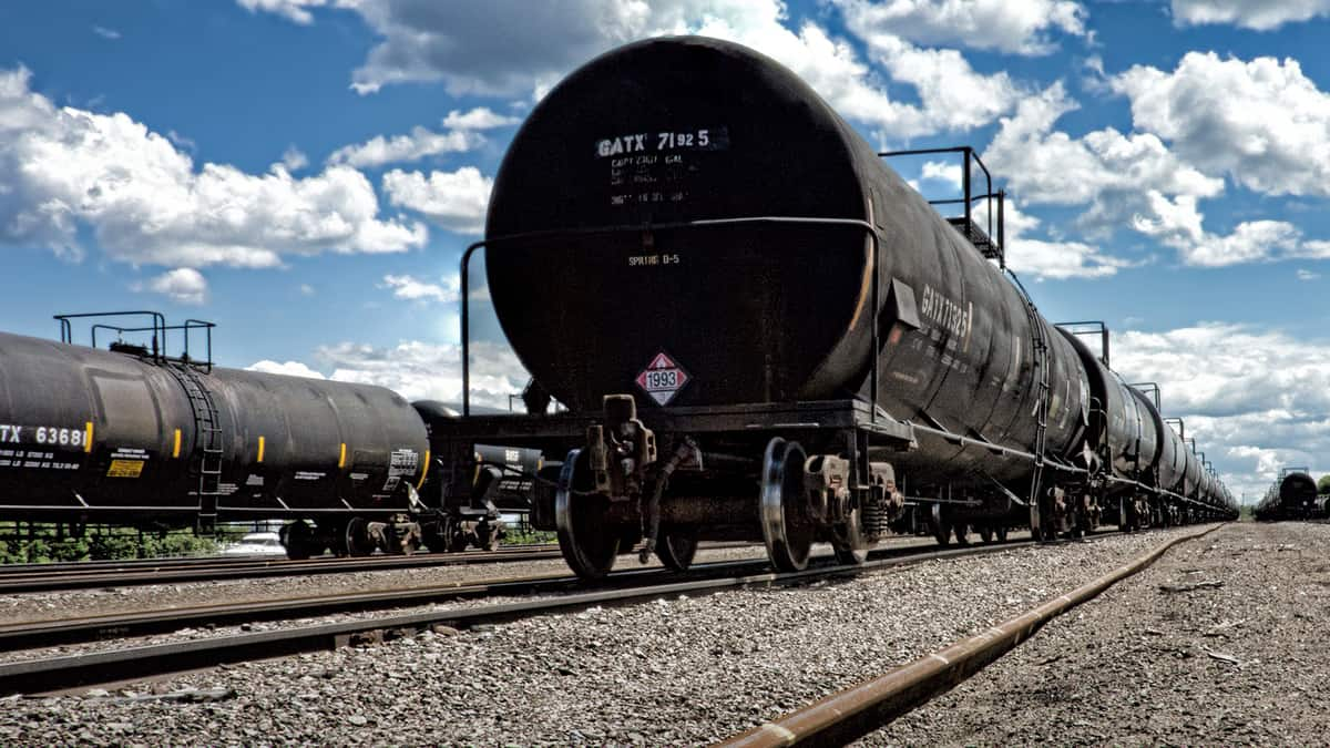 Rail tanker freight cars, which may carry hazardous materials