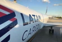 Close up fuselage view of LATAM Cargo aircraft.