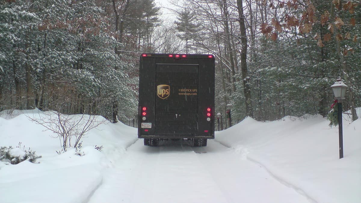 UPS truck in the snow.