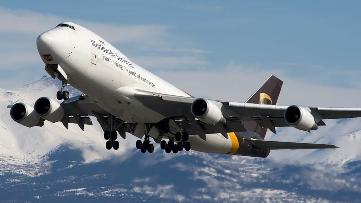 A jumbo jet takes off