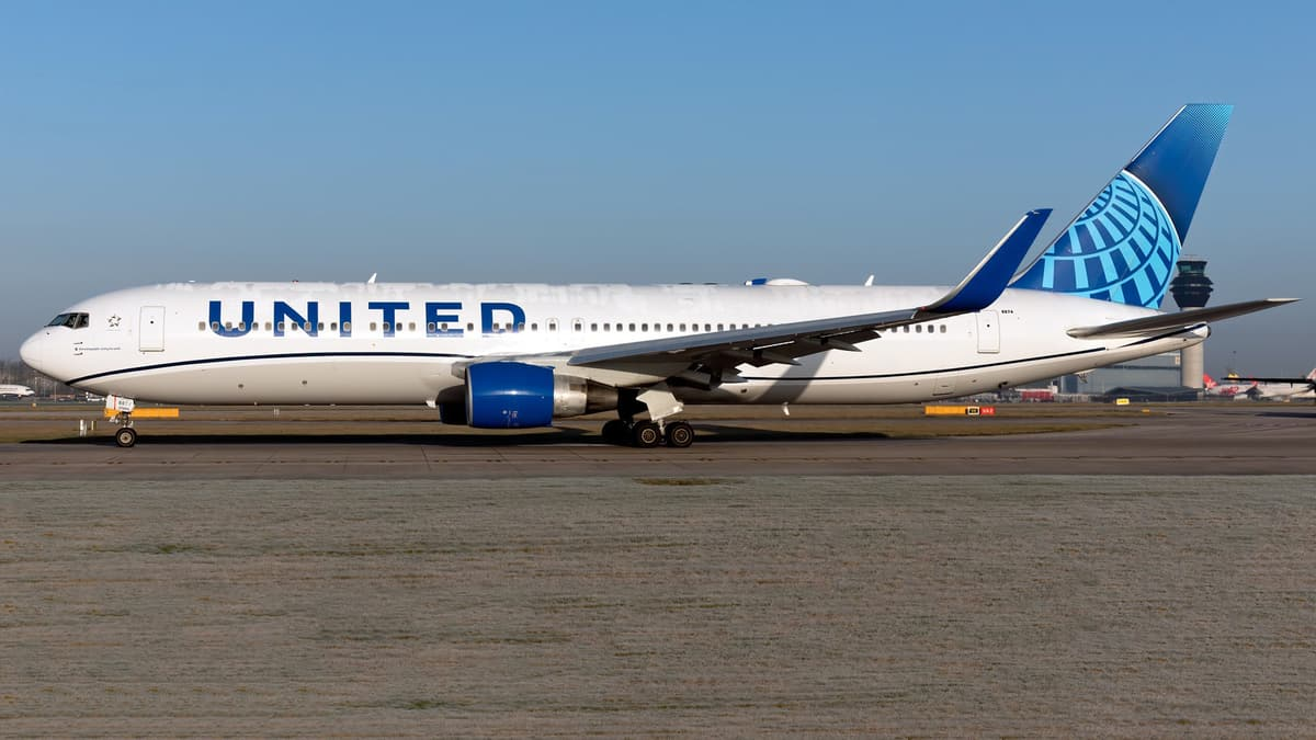 United Airlines jet on runway