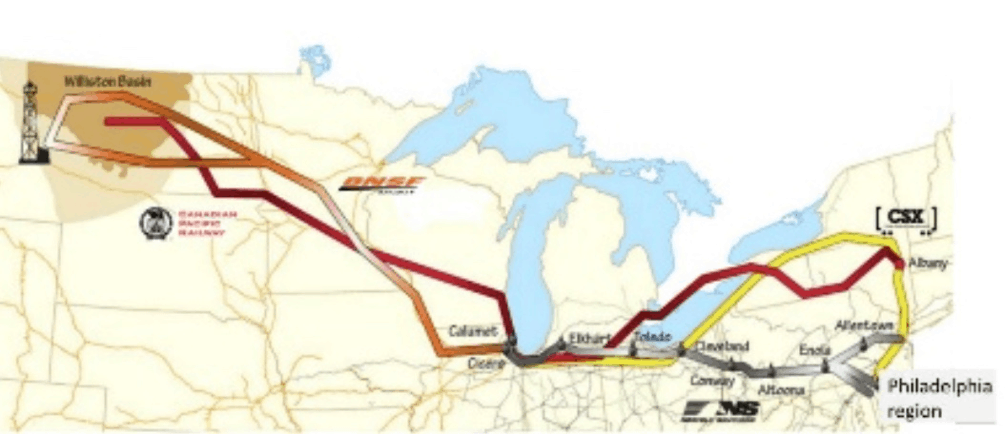 Map of rail routes from Bakken oil fields to refineries in eastern Pennsylvania
